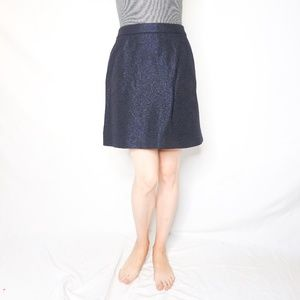 CHANEL Uniform Textured Blue Metallic Mini Skirt